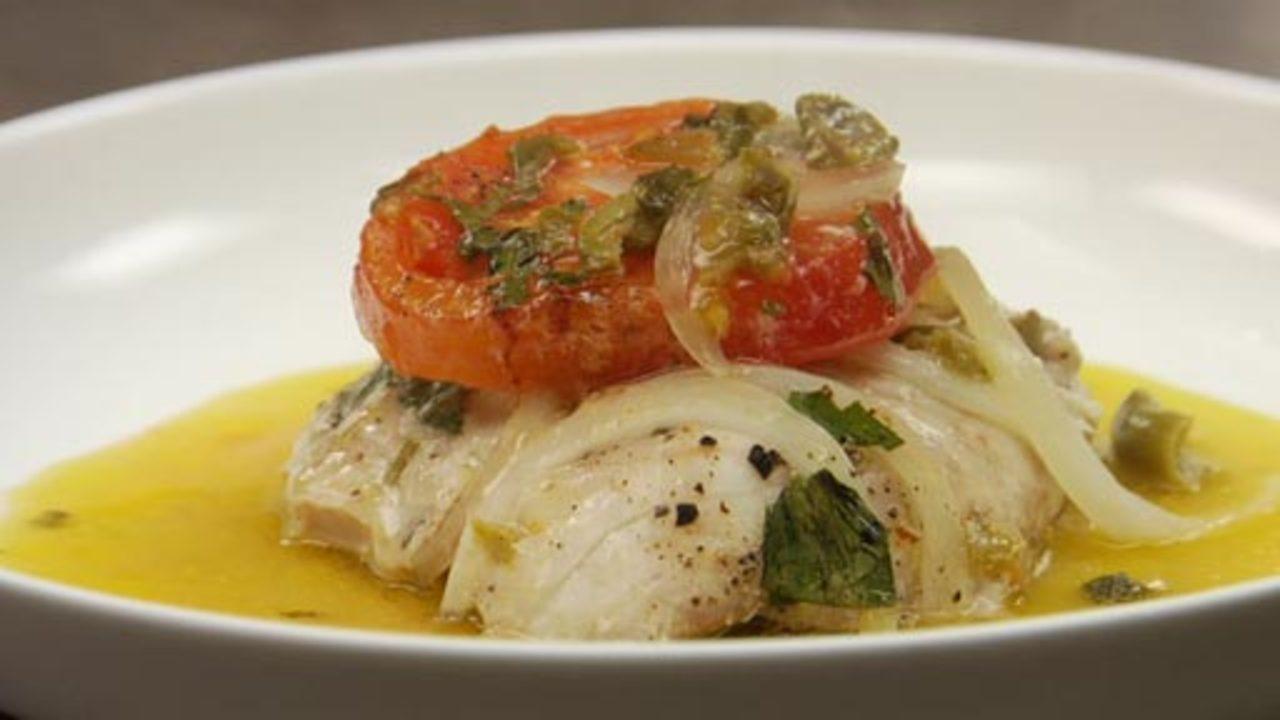 Snapper veracruz recipe rouxbe cooking school for Fish veracruz recipe