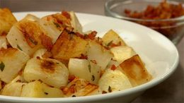 Roasted Turnips with Crispy Pancetta & Thyme