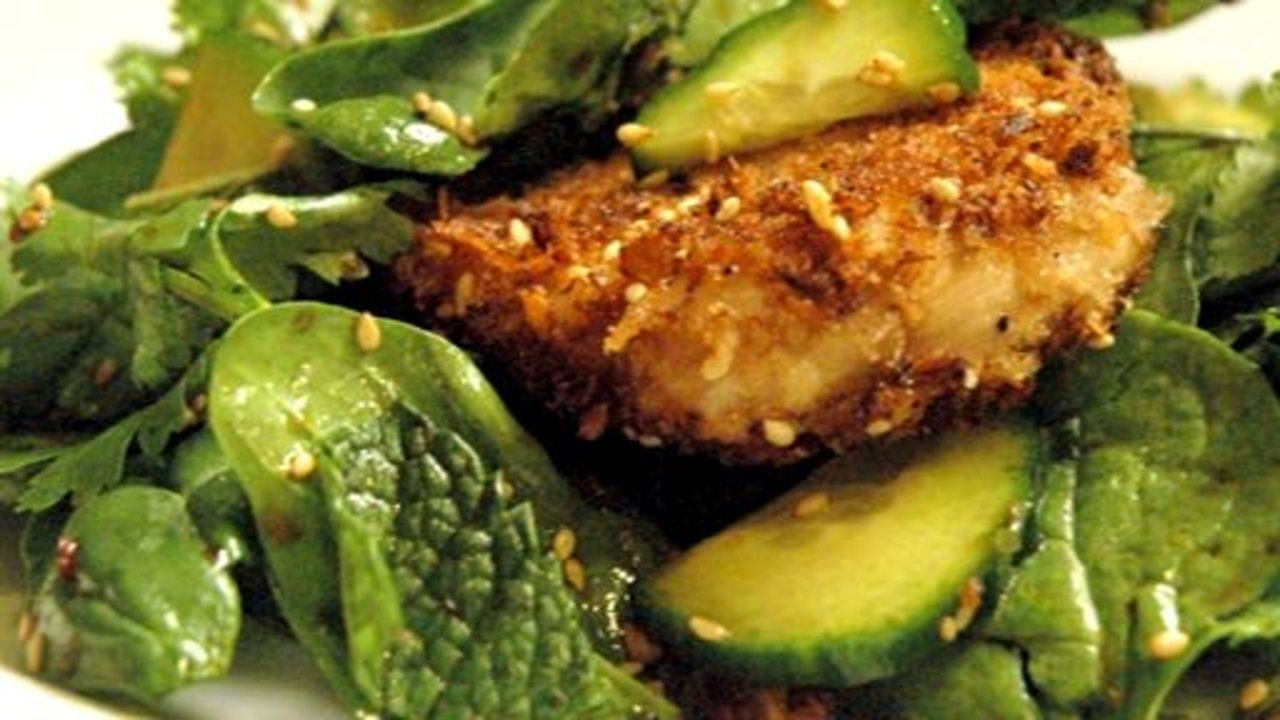 Sesame Panko Chicken & Spinach Salad