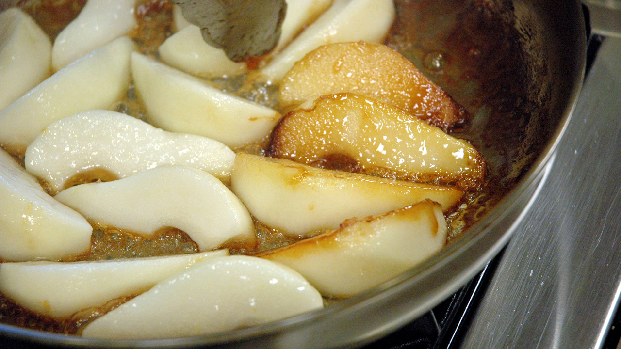 Cooking and Flipping the Pears