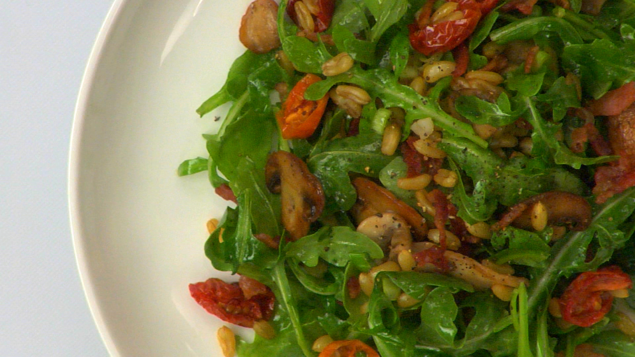 Warm Wheat Berry, Mushroom, Tomato & Arugula Salad