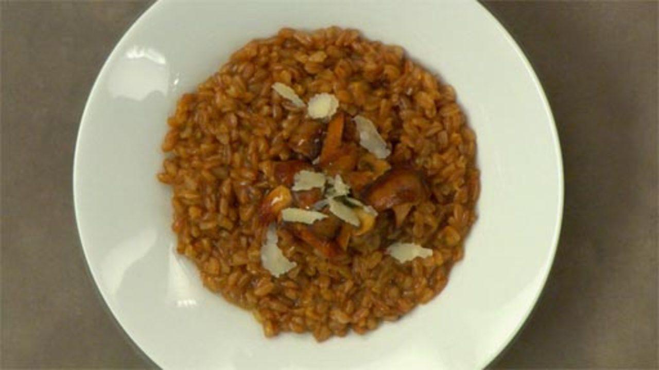 Risotto Style Farro W/ Mushrooms & Truffle Oil