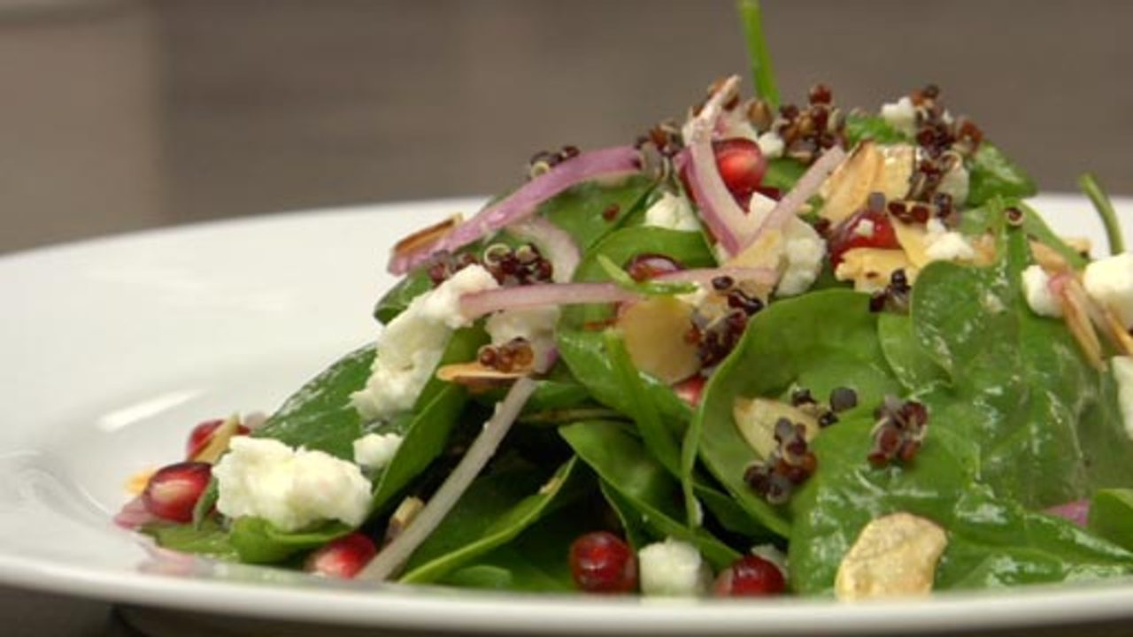 Spinach Salad With Black Quinoa & Pomegranate