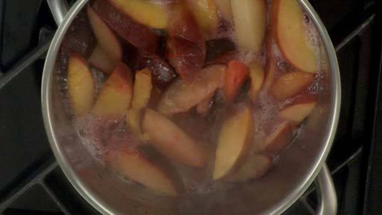 Making the Stone Fruit Compote