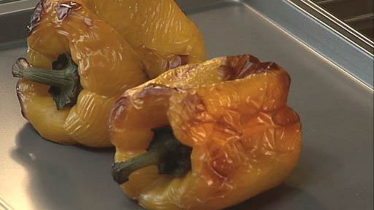 Roasting the Yellow Peppers
