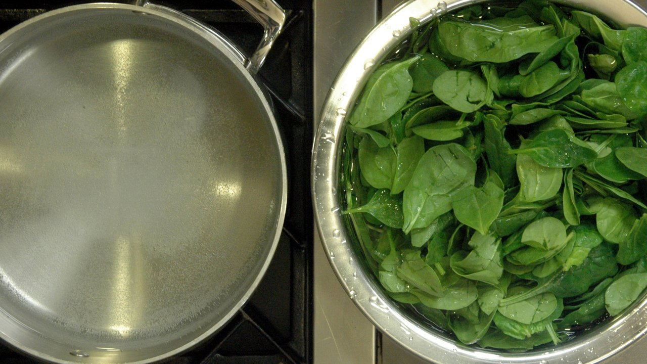 Blanching the Spinach
