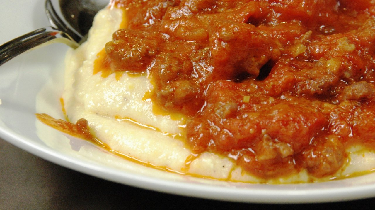 Serving the Polenta and Ragu