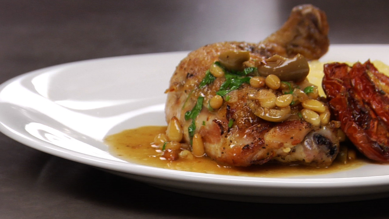 Lemon Chicken W/ Pine Nuts & Olives