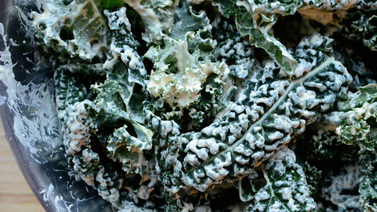 Preparing the Kale Chips