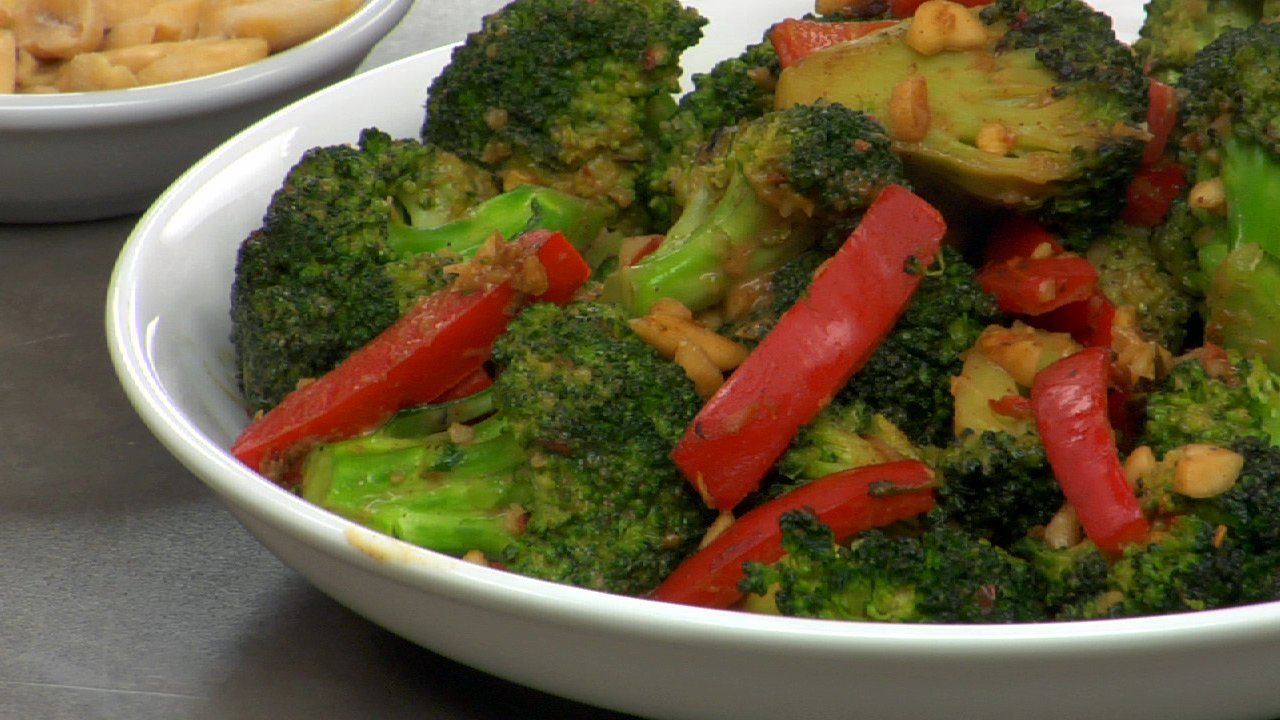 Stir Fried Broccoli In A Spicy Peanut Sauce