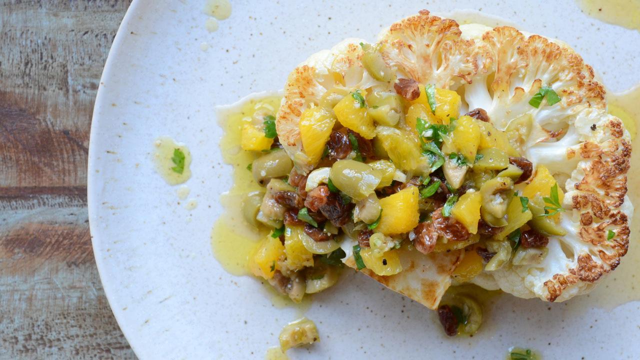 Cauliflower 'steak' W/ Olive Pistou