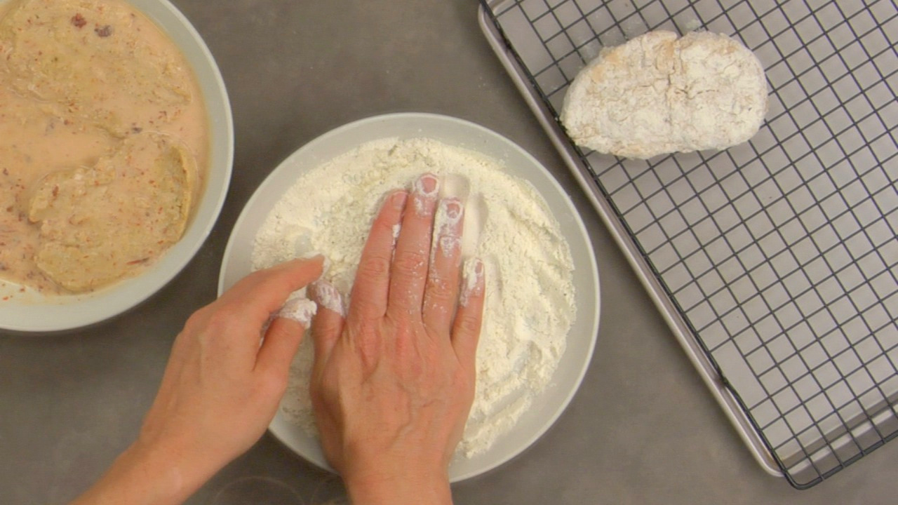 Preparing the Fried Chik'n