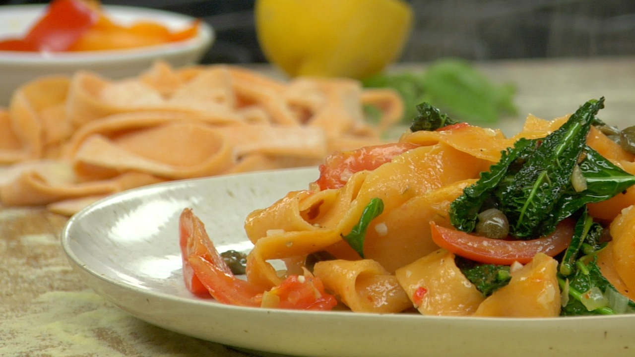 Red Pepper Pappardelle W/ Garden Vegetables