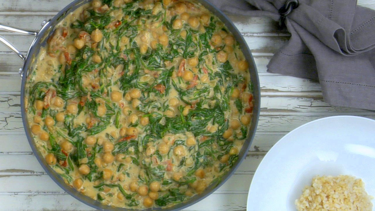 Coconut Braised Chickpeas W/ Spinach & Sun Dried Tomatoes