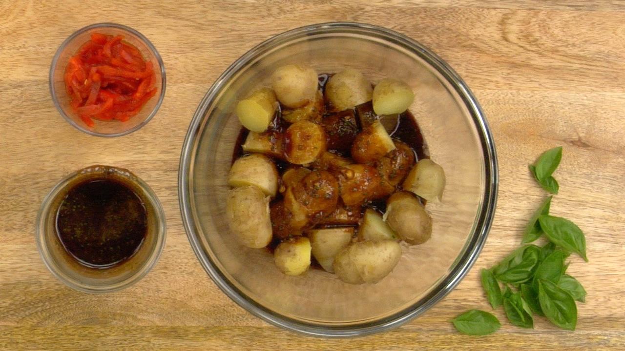 Preparing the Balsamic Potatoes