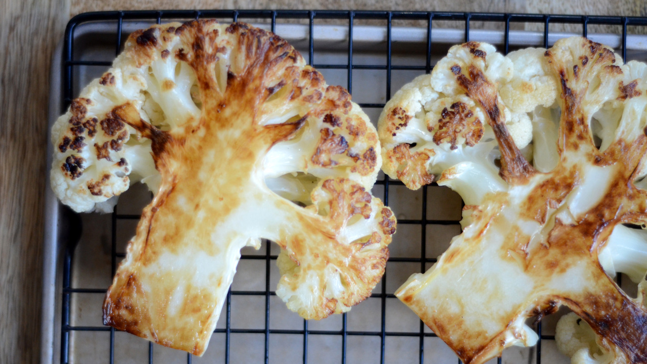 Pan-Searing the Cauliflower 'Steaks'