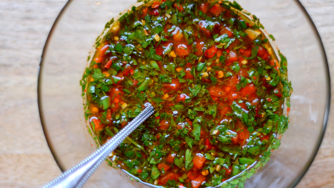 Preparing the Chimichurri Sauce