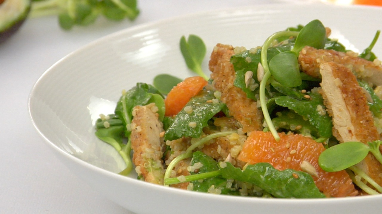 Crispy Chick'n W/ Quinoa, Kale, Avocado & Citrus Salad