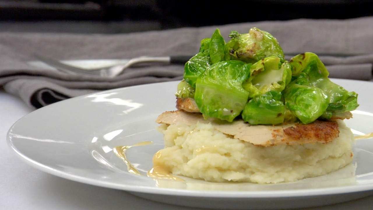 Crusted Chick'n W/ Mashed Potatoes, Brussels Sprouts & Miso Sesame Sauce