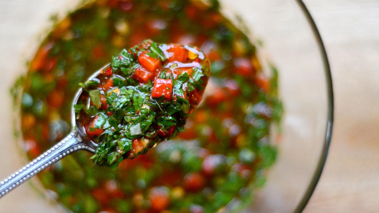 Making the Chimichurri Sauce