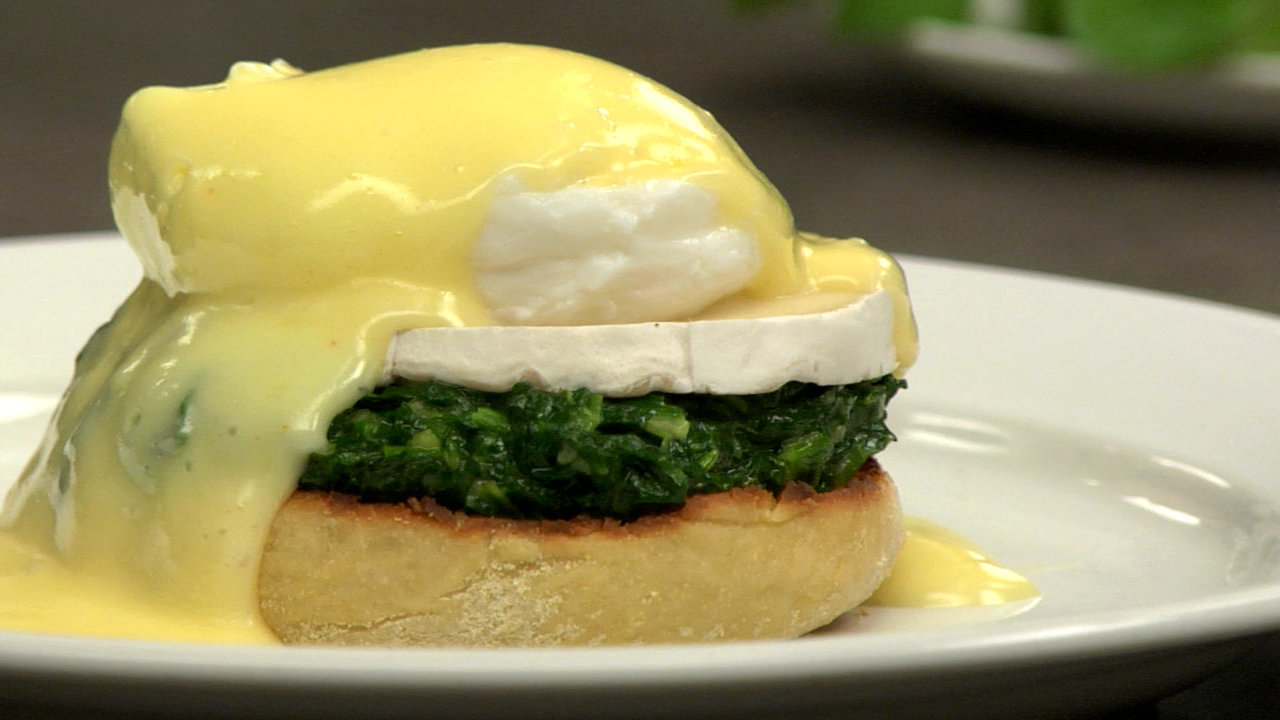 Creamed Spinach & Goat Cheese Eggs Benedict