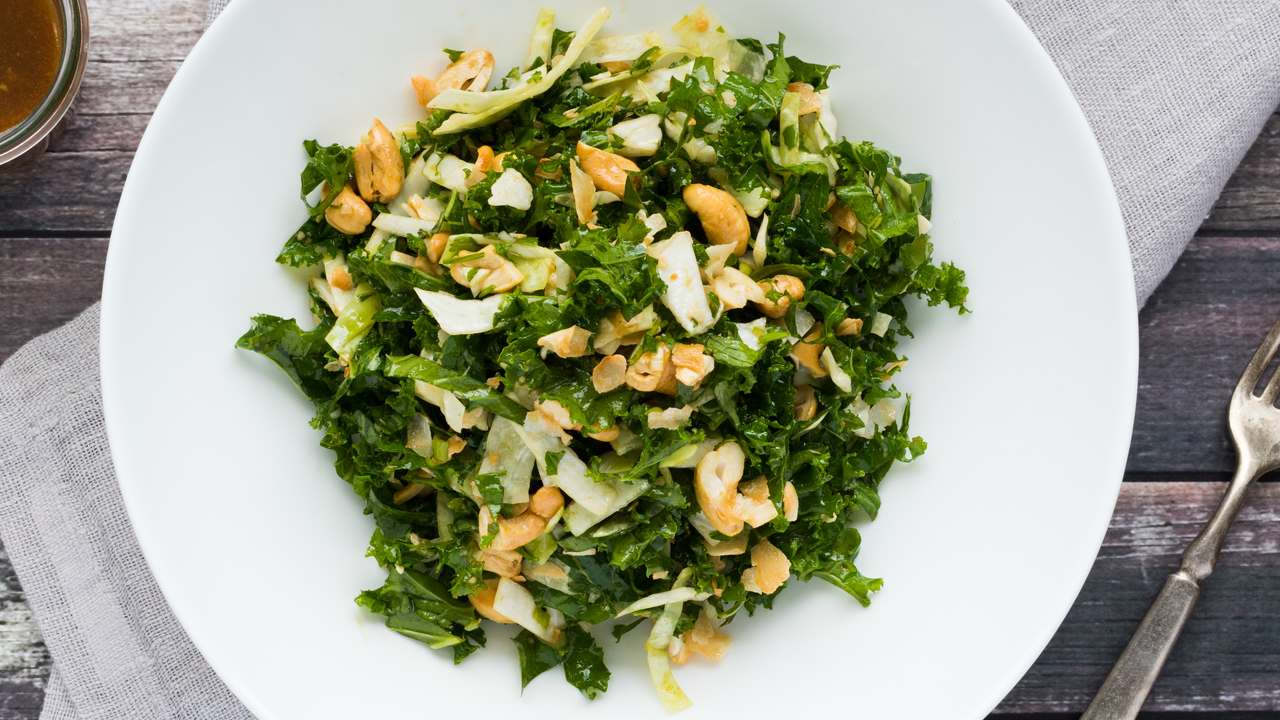 Asian Kale, Coconut & Cashew Salad