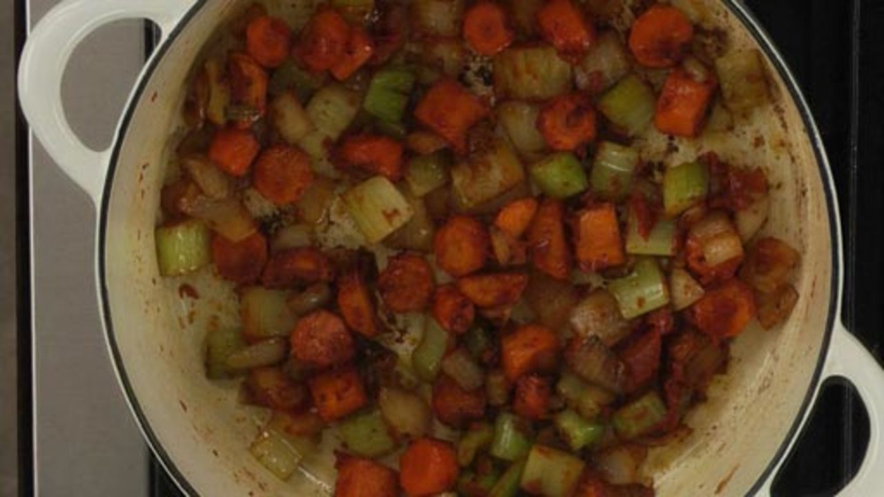 Browning the Mirepoix