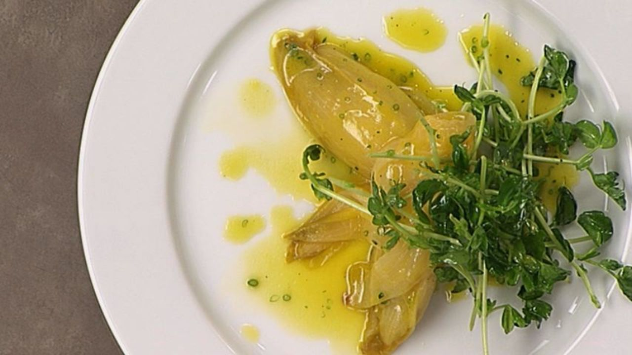 Braised Endive & Pea Shoot Salad W/ A Citrus Vinaigrette
