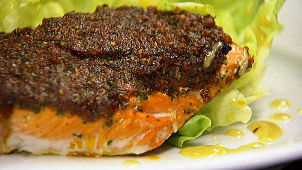 Sun Dried Tomato & Herb Crusted Salmon