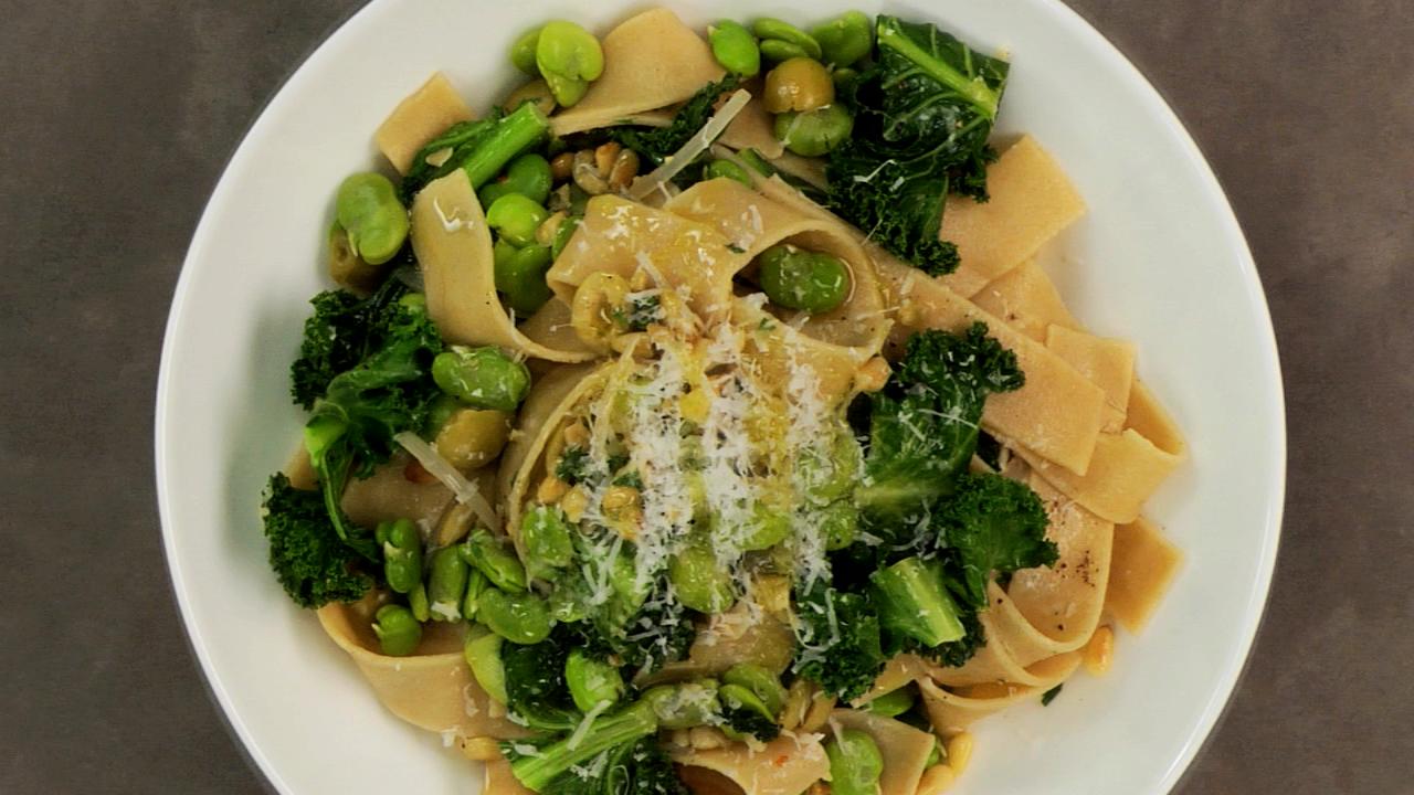 Fava Bean & Kale Pappardelle