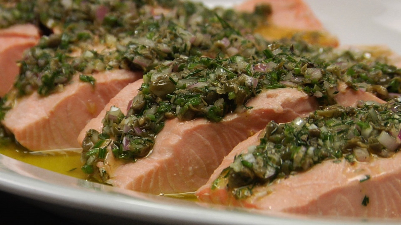 Poached Salmon W/ Herb Vinaigrette