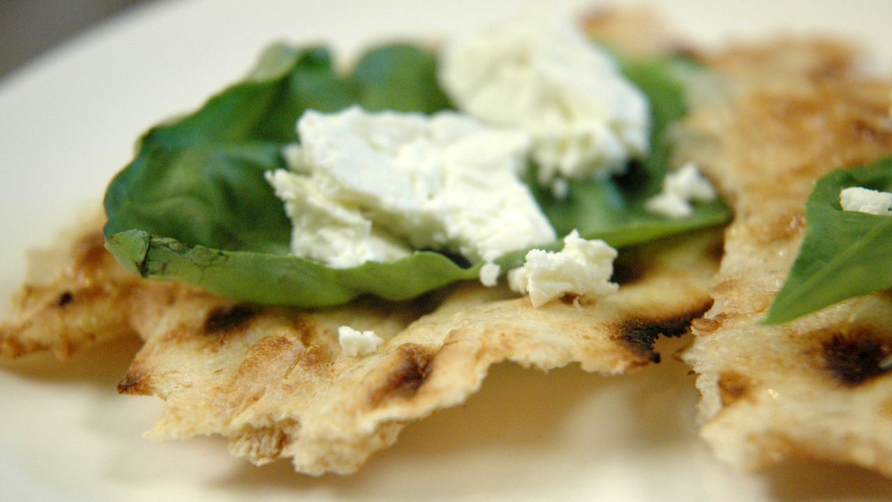 Sangak With Fresh Basil And Bulgarian Cheese