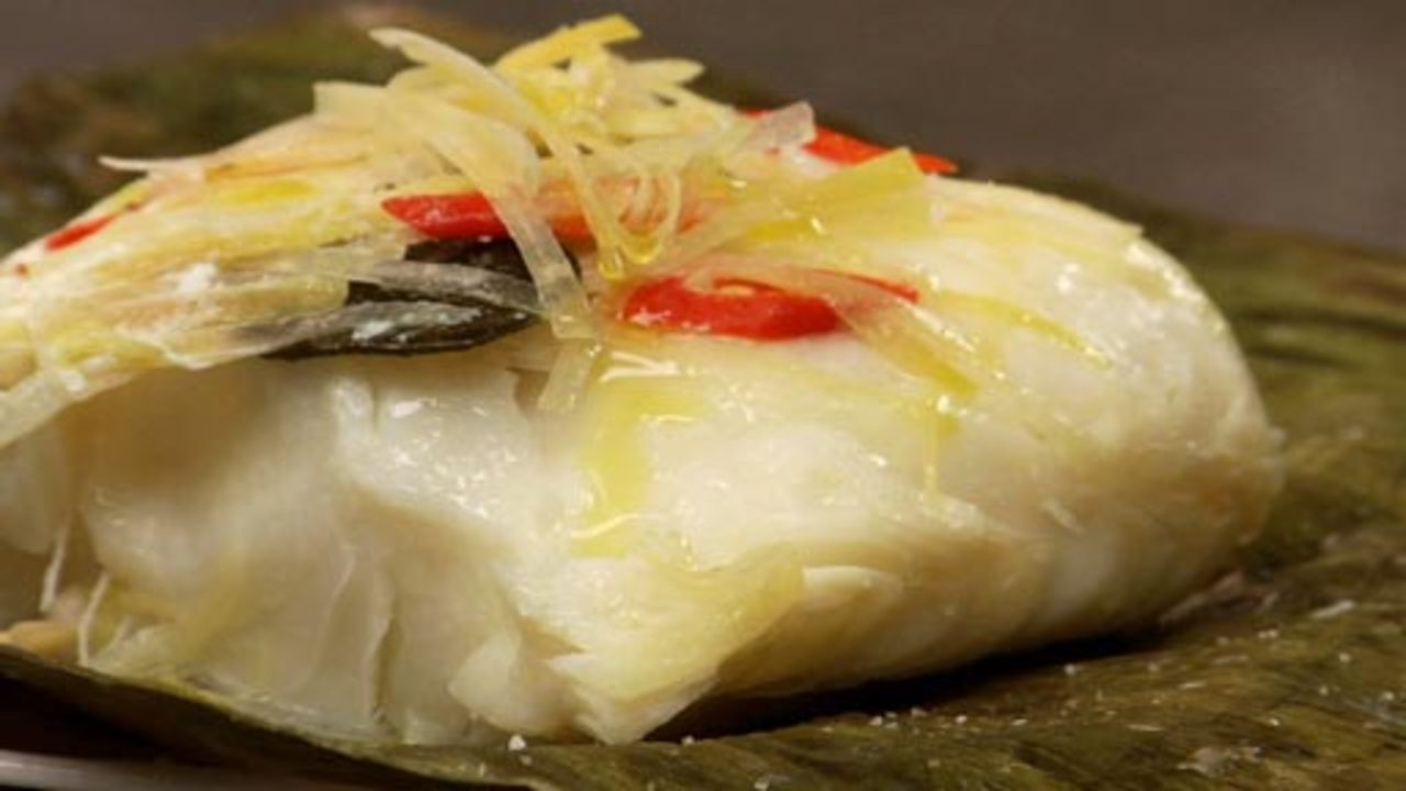 Steamed Asian Sea Bass In Banana Leaves