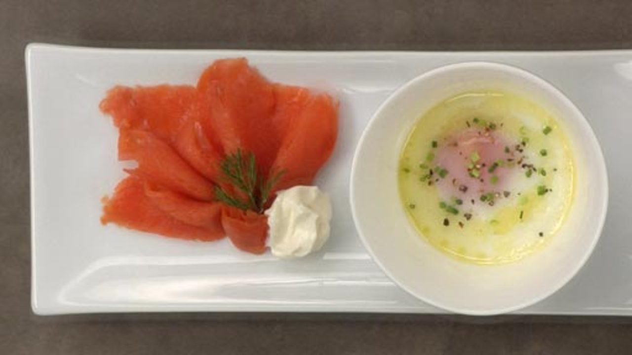 Steamed Eggs W/ Smoked Salmon, Crème Fraîche & Chives