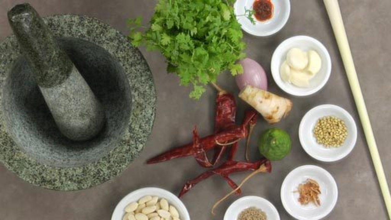 Preparing Ingredients for Panang Paste