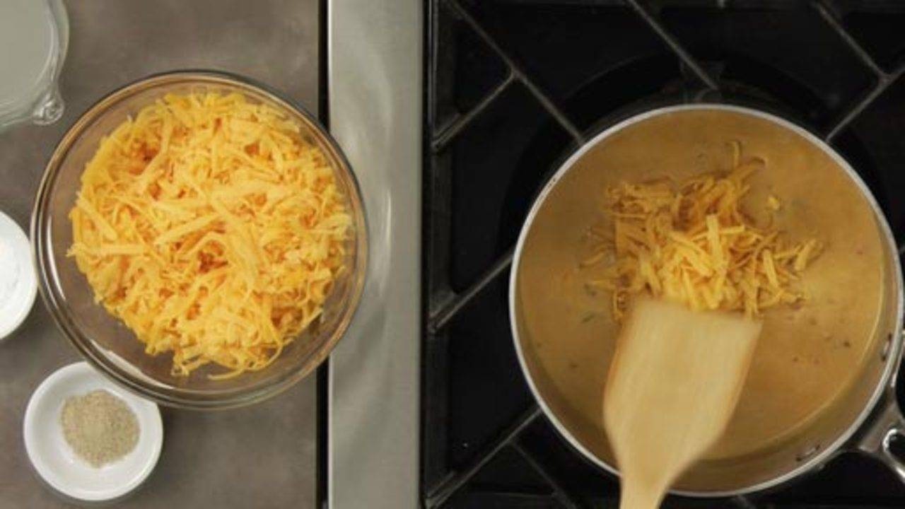 Finishing the Cheese Sauce