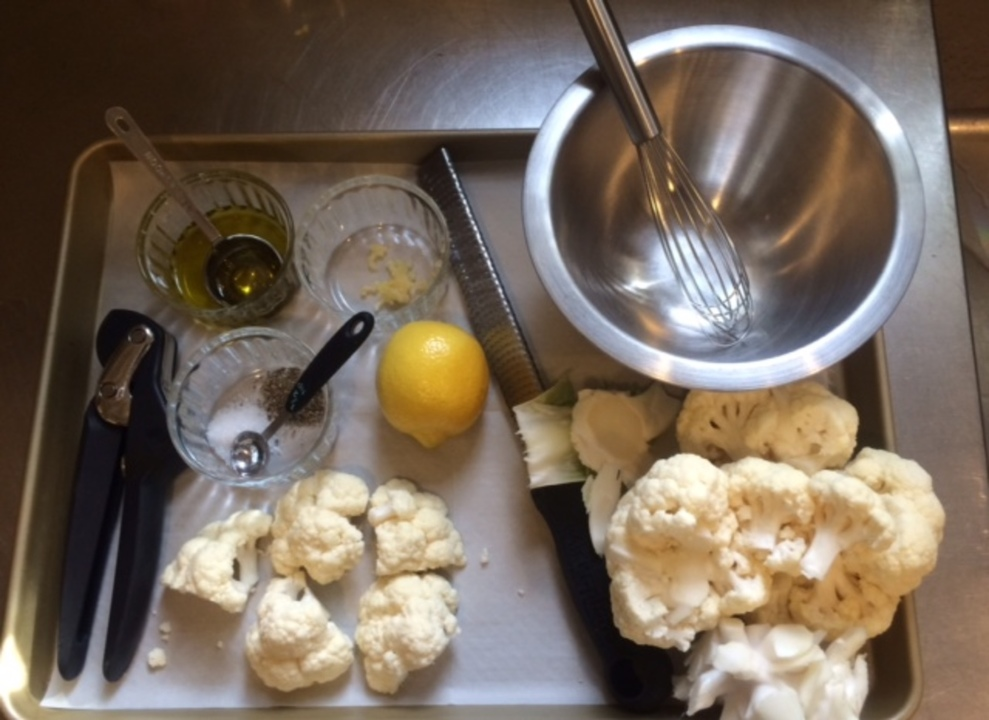 Large mise en place cauliflower